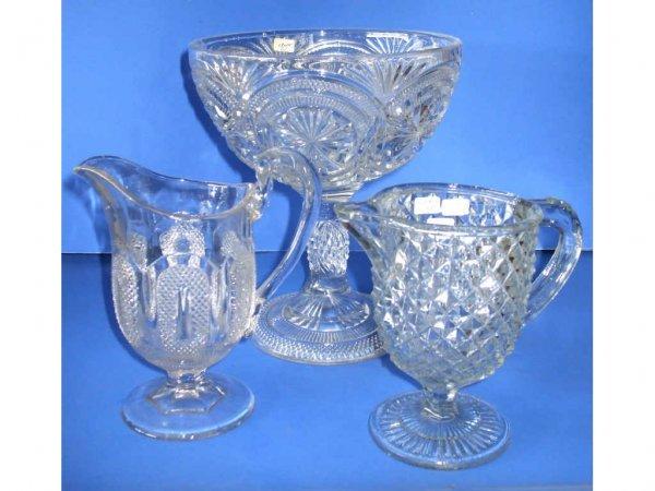509: Lot of 3 Flint Glass 19th Century Items