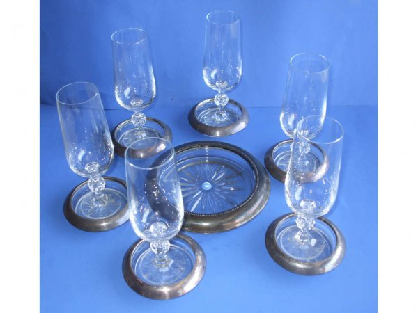 520: Sterling Silver Rimmed Champagne Coaster