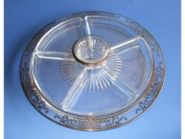 523: Large Sterling Overlay Dividied Condiment Tray