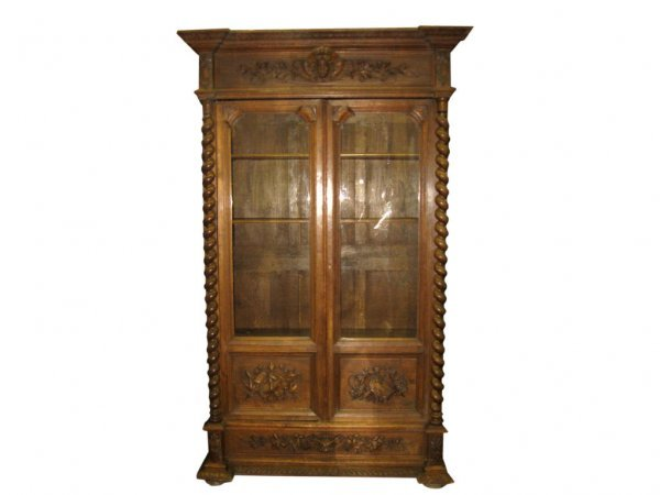 2070: Heavy Carved Maiden Head Bookcase