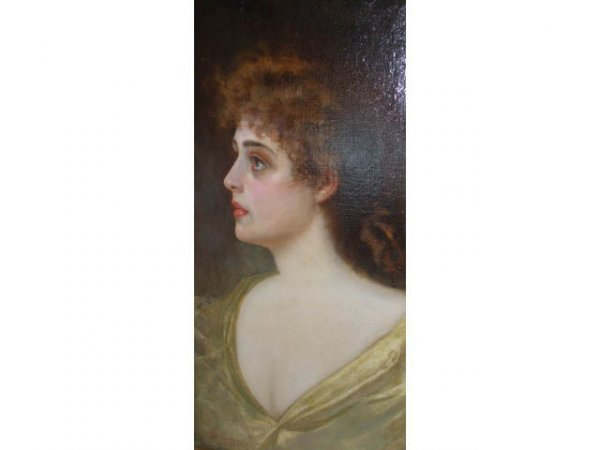 3450: 19th Cent. Adolfo Belimbau Oil Painting of Woman