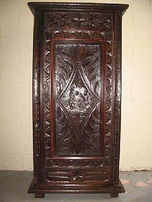 3451: Heavy Carved Gothic Oak Cabinet