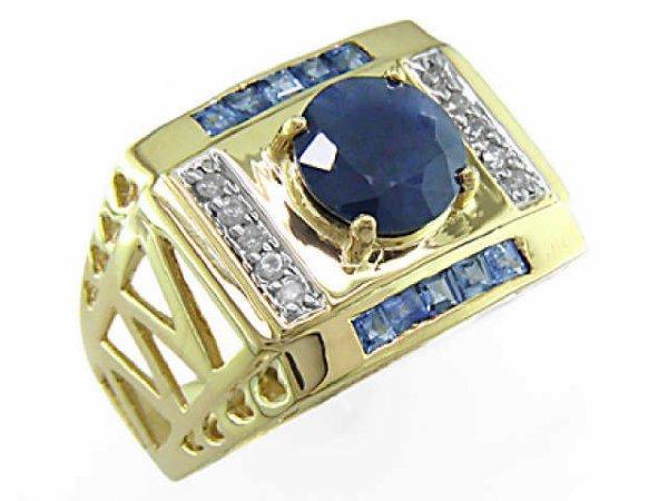 3464: Certified Sapphire & DIamond Gents Ring