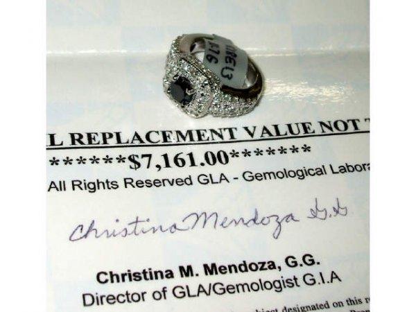 3467: Fine Black Diamond and White Gold Ring