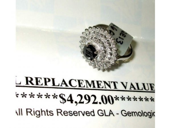 3468: Fine Ladies Fancy Black Diamond Ring