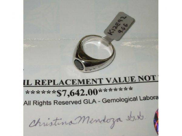3472: Fine Art Deco Style Mens Black Diamond Ring