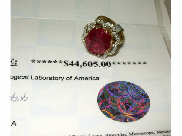 3485: Fine LARGE Ruby and Diamond Ring