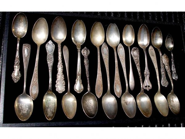 708A: Lot of 19 STERLING Collectible Spoons