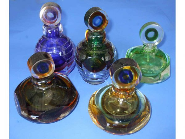 714A: Lot of 5 Hand Blown Murano Style Glass Perfumes