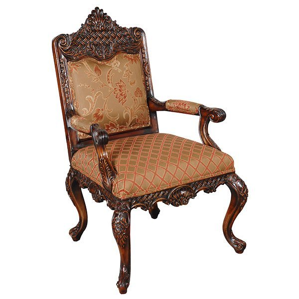 2: Fine Heavy Carved Solid Arm Chair