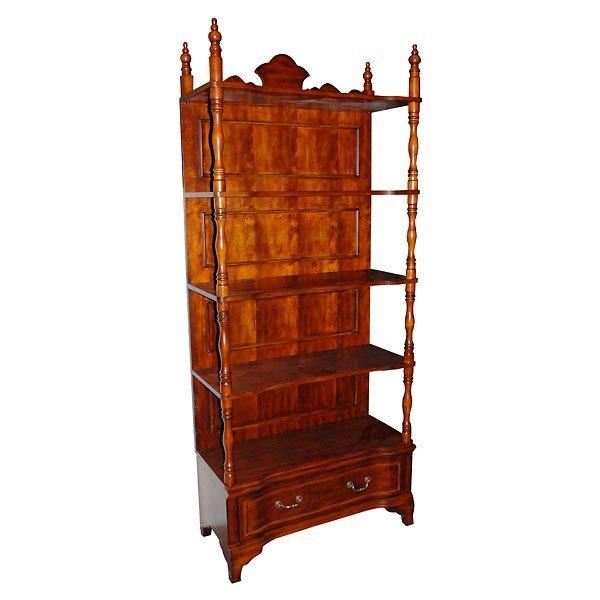 6: Large Mahogany Finish Fancy Etagere Shelf