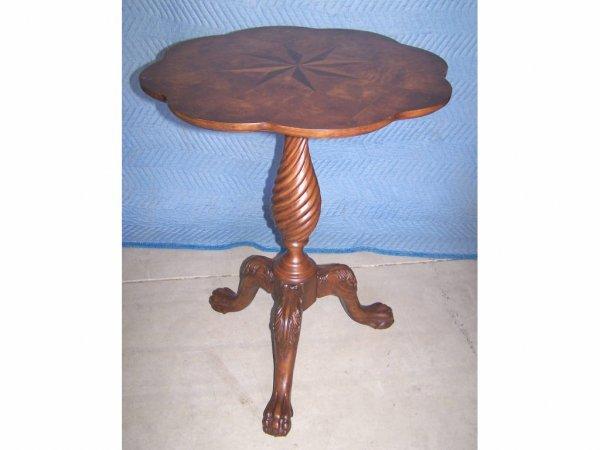 20: Inlaid Walnut Pedestal End Table