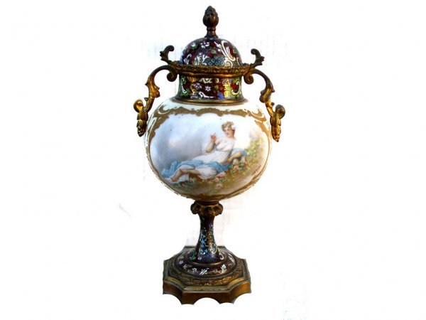 24: Sevres French Classical Scenic Urn Champleve