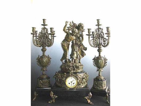 364: Fabulous French Figural Clock Set