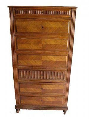 373: French Walnut Drop Front Secretaire