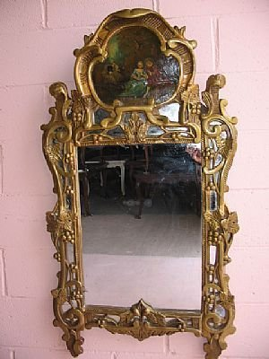 377: Antique French Gilt Mirror w/ Oil Painting