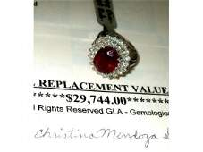 1003: Fabulous $ 29,000 Ruby and Diamond Ring