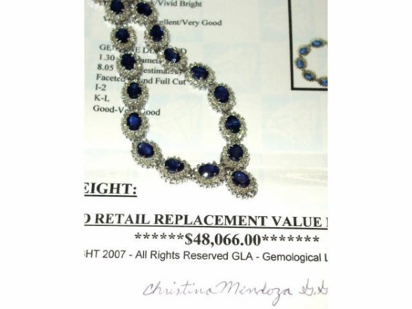 1012: Stunning LARGE SAPPHIRE NECKLACE
