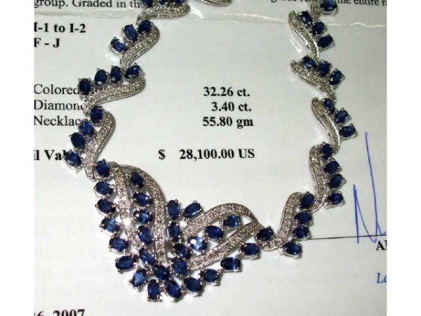 1017: Stunning Sapphire and Diamond Necklace