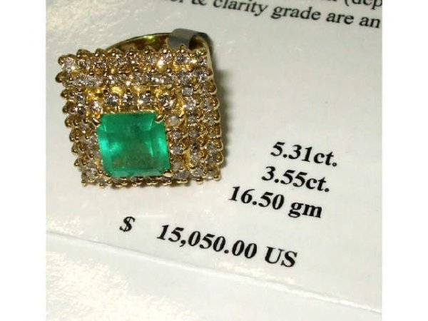 1023: Excellent LARGE Emerald and Diamond Ring