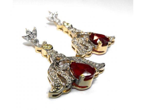 8015: Fine Ruby & Diamond Earrings Ap. $ 37,120
