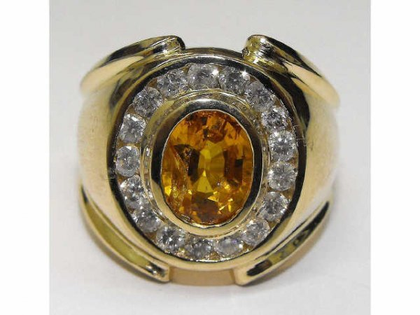 8020: Yellow Sapphire & Diamond Ring Ap. $ 12,773