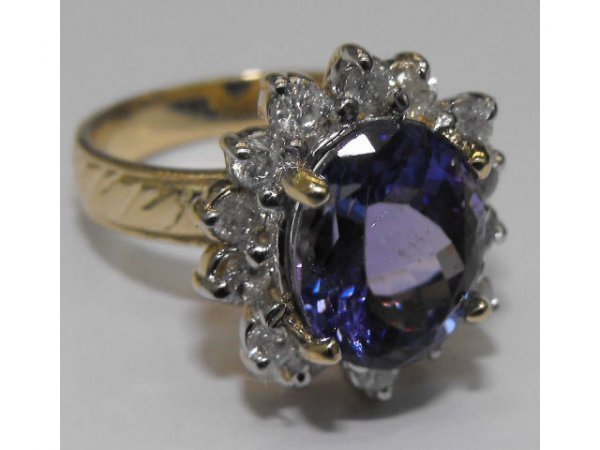 8021: Fine Tanzanite & Diamond Ring  Ap. $ 19,298
