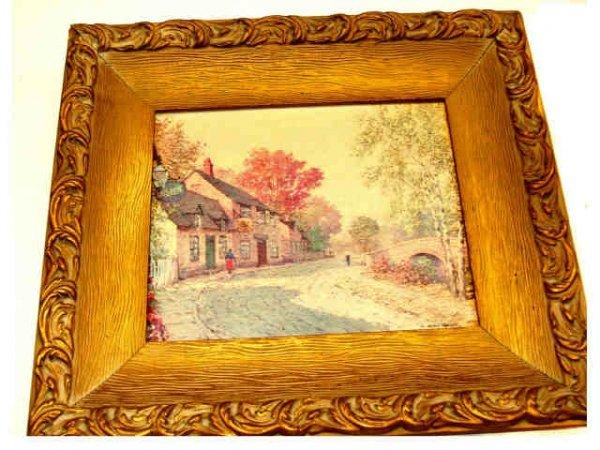 8203: Fine Oak Framed Antique Oil Painting