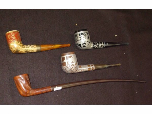 8207: Lot of 4 Vintage Pipes Sterling Overlay