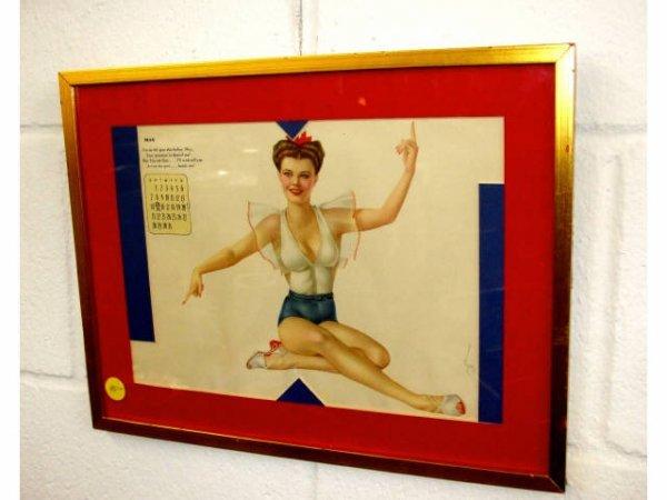 8209: Vintage Vargas Risque May Framed Calendar