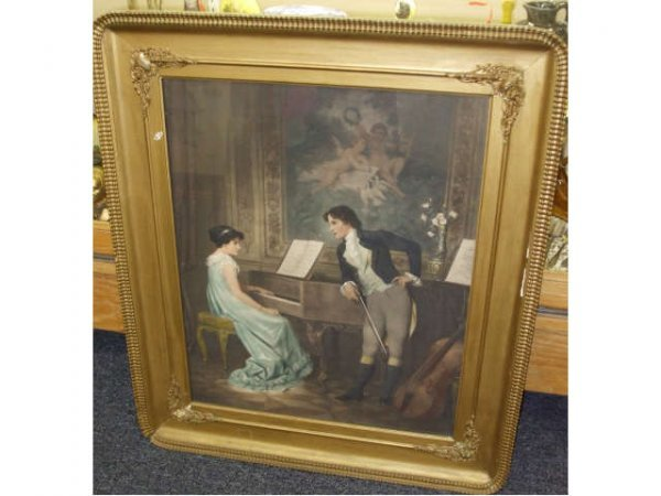 8214: Stunning Hand Painted over Print 1880s