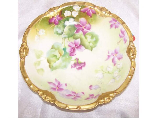 8220: Limoges Hand Painted Floral Charger