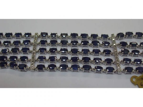 8325: Stunning Sapphire & Diamond Tennis Bracelet