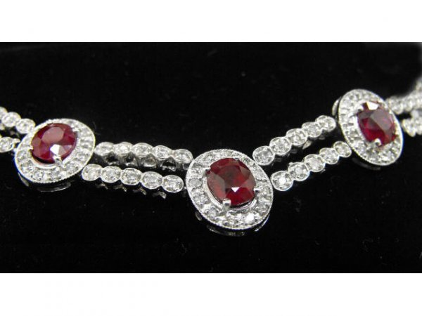 507: 24.45 ct. Ruby & 6.08 ct. diamond Necklace $ 32k