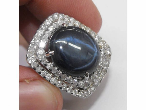 602: Star Sapphire & Diamond Ring $ 13,200