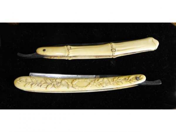 702: 2 Celluloid Antique Decorated Straight Razors