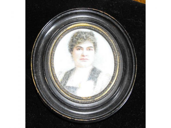703: 19th Century Hand Painted on Ivory Portrait