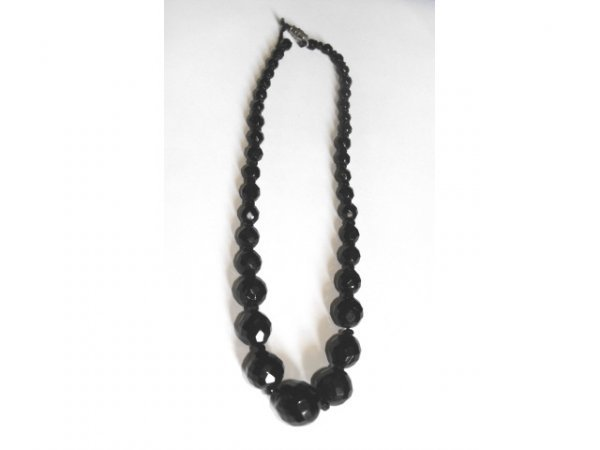 716: Black Crystal Beaded Necklace