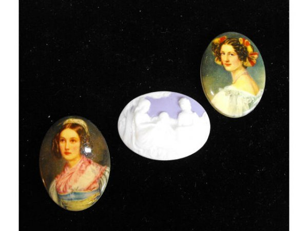 718: Lot of 3 Costume Cameo Inserts