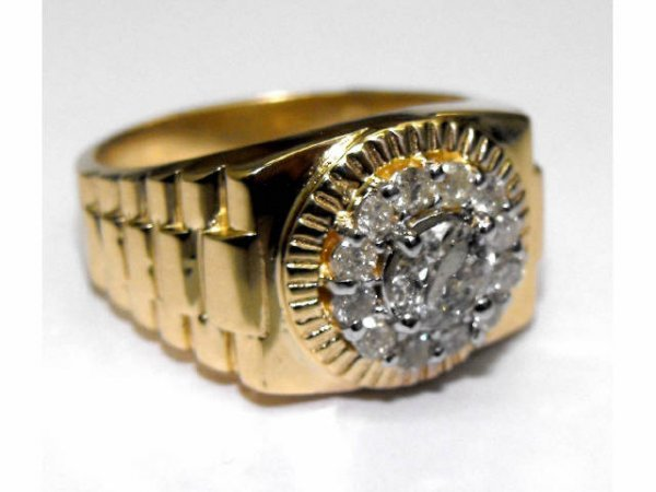 761: Fine Rolex Style Mans Diamond Ring Ap. $ 6,201