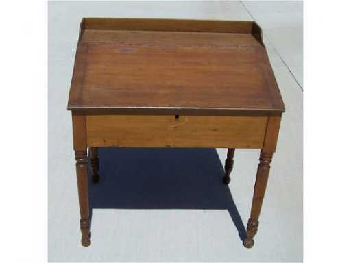 - 884: Antique Pine Slant Front Railroad Clerks Desk