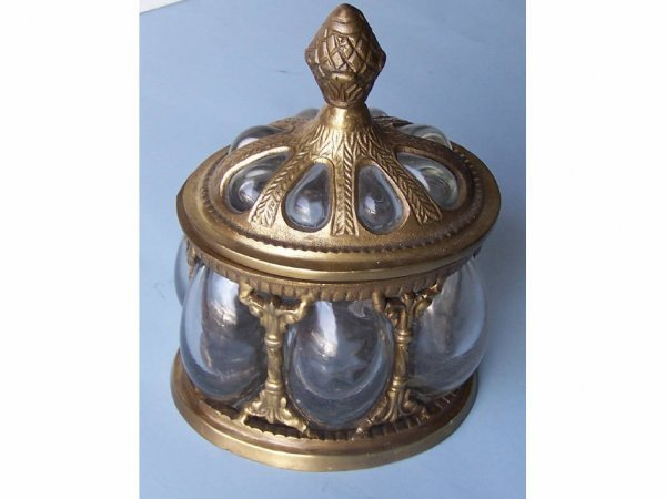 4: Brass and Glass Covered Jar