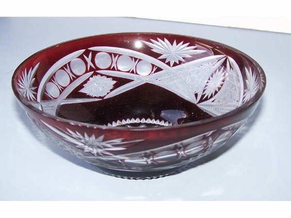 15: Ruby Cut to Clear Bowl