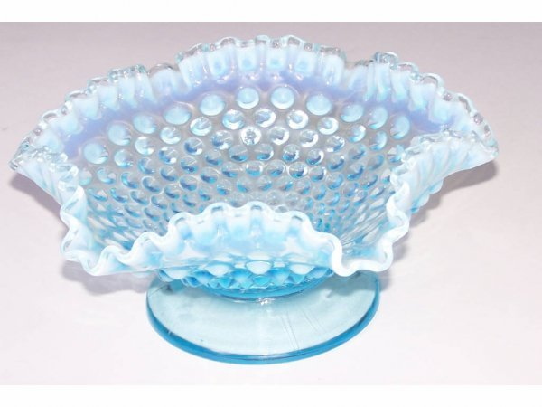 16: Blue Opalescent Hobnail Compote
