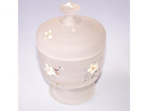 24: Frosted Painted Floral Lidded Compote