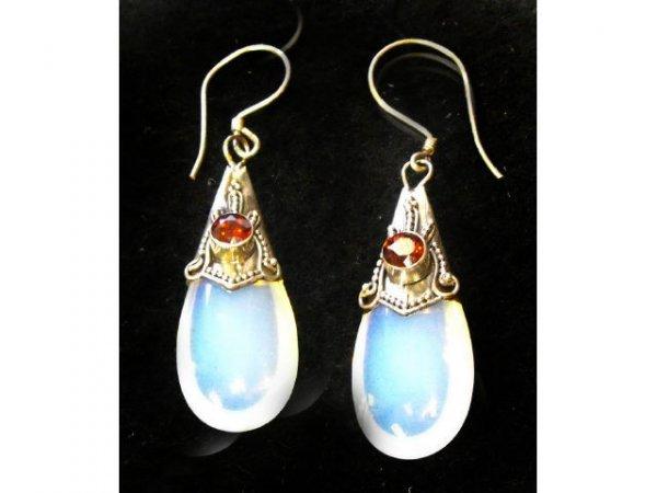 5022: Sterling Mount Moonstone & Garnet Earrings