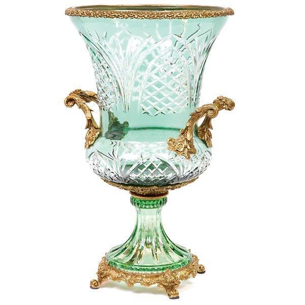 1007: Green Bohemian & Bronze Urn