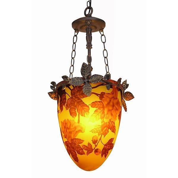 1017: Art Glass Pendant Lamp