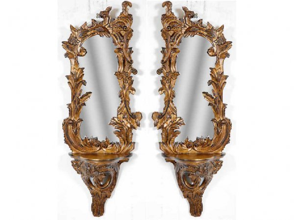 1021: Pair of Guilt Rococo Mirrors