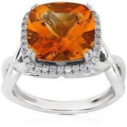 3028: 18k Gold Citrine & Diamond Ring (H/VS)